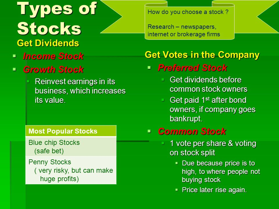 Types of Stocks Get Dividends Get Votes in the Company Income Stock