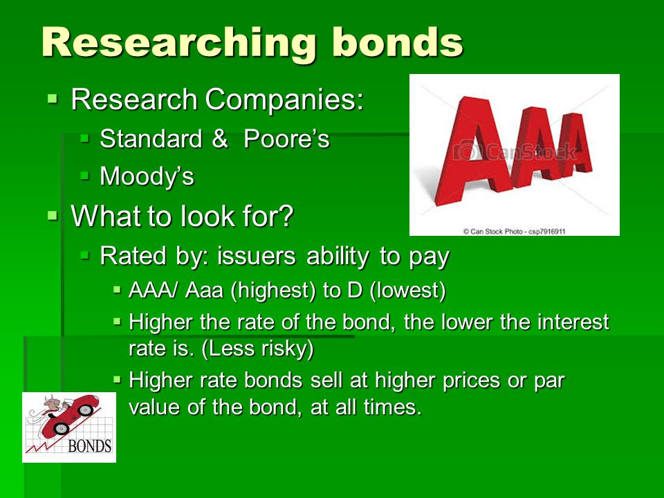 Researching bonds Research Companies: What to look for