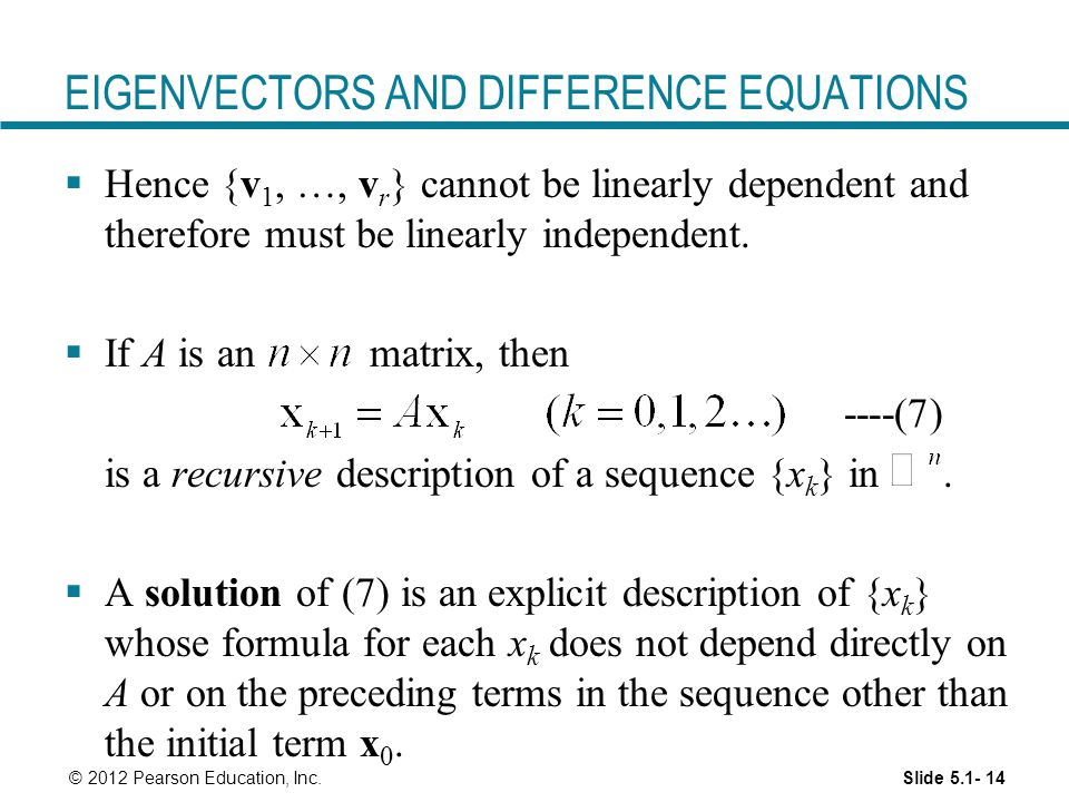 EIGENVECTORS AND DIFFERENCE EQUATIONS