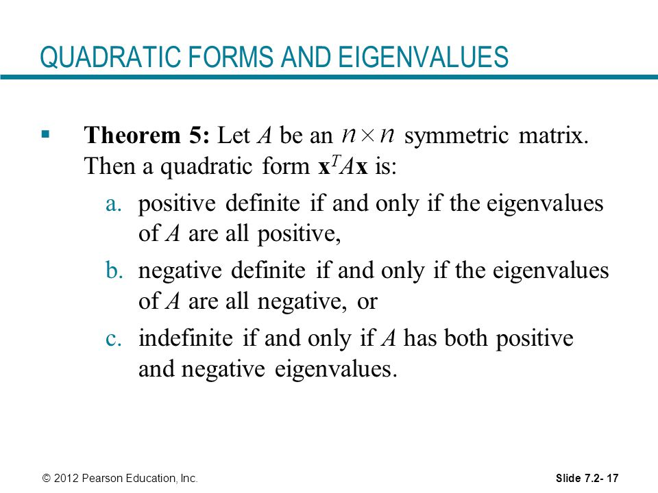 QUADRATIC FORMS AND EIGENVALUES