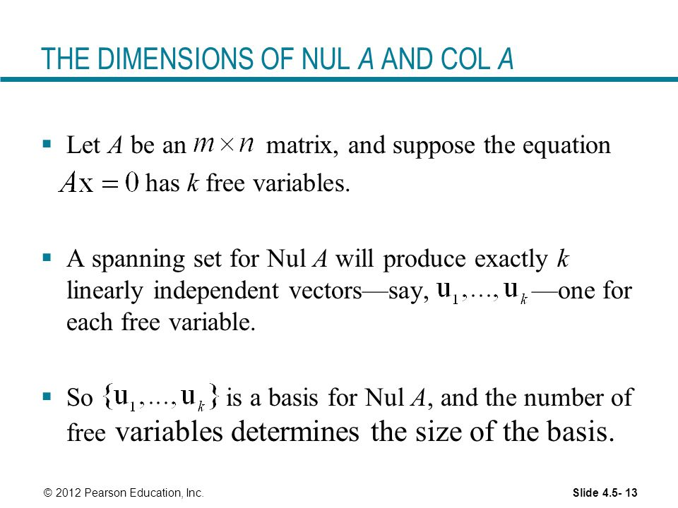 THE DIMENSIONS OF NUL A AND COL A