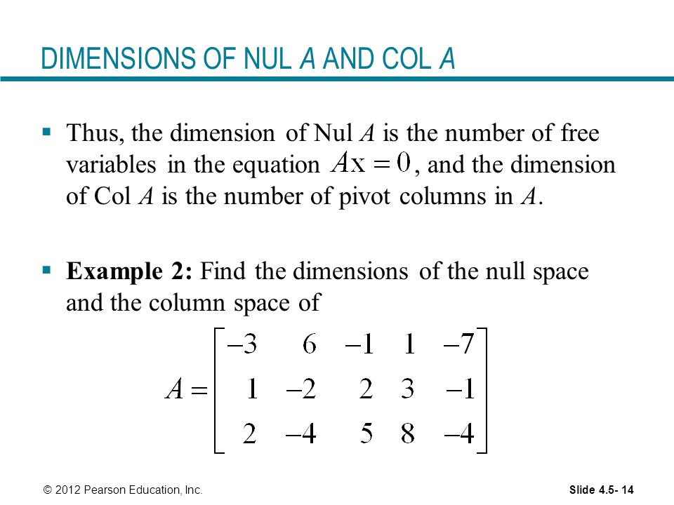DIMENSIONS OF NUL A AND COL A