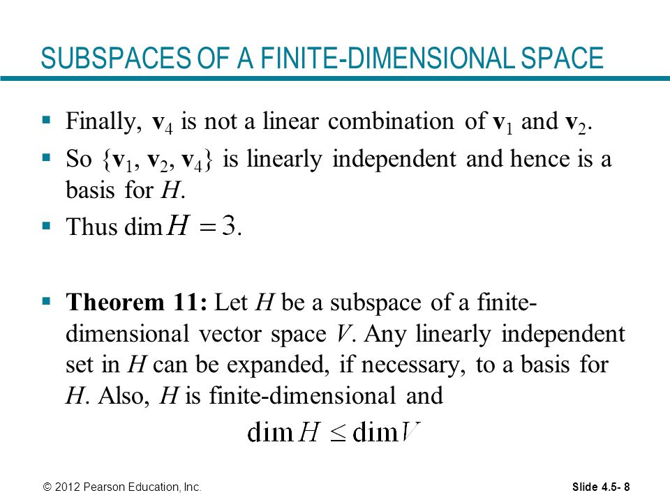 SUBSPACES OF A FINITE-DIMENSIONAL SPACE