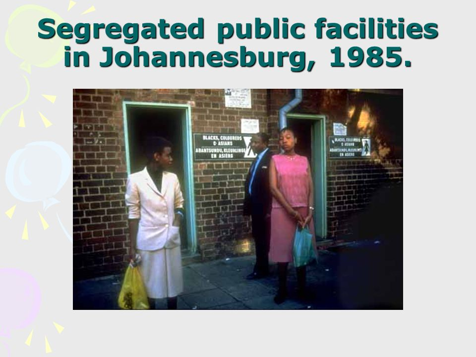 Segregated public facilities in Johannesburg, 1985.