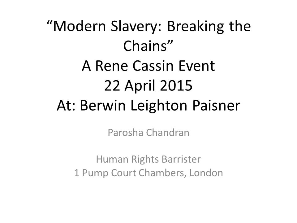 Parosha Chandran Human Rights Barrister 1 Pump Court Chambers, London