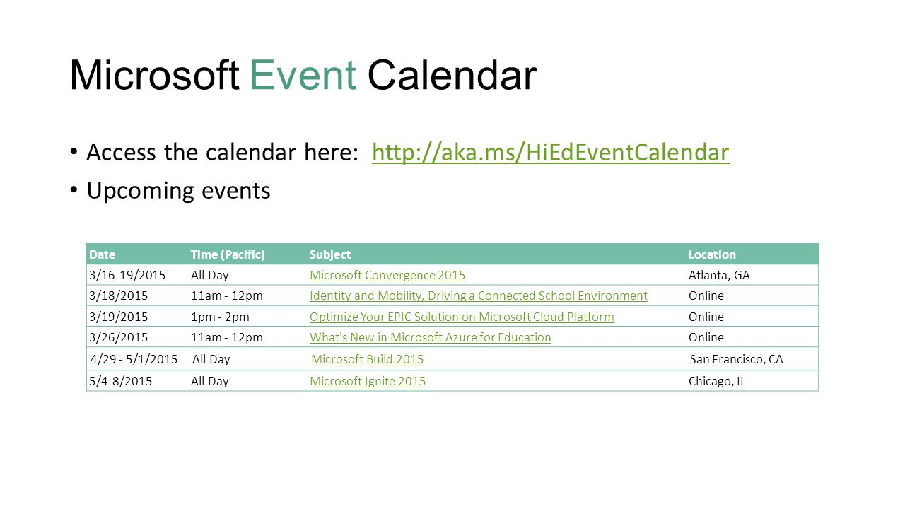 microsoft event calendar