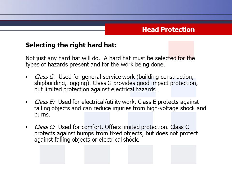 Selecting the right hard hat: