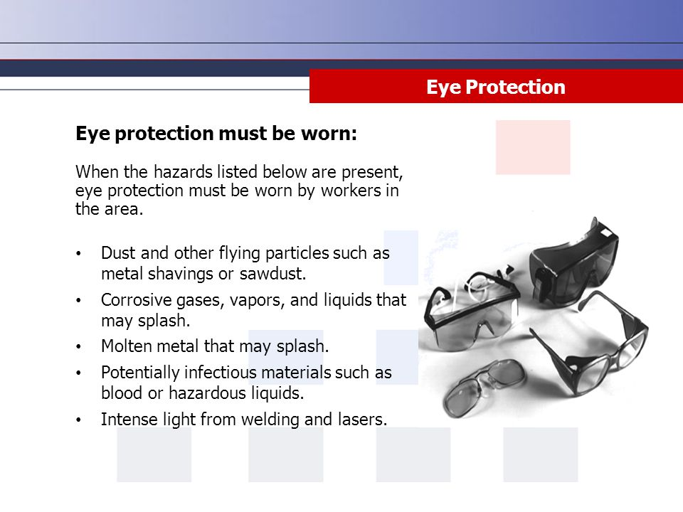 Eye protection must be worn:
