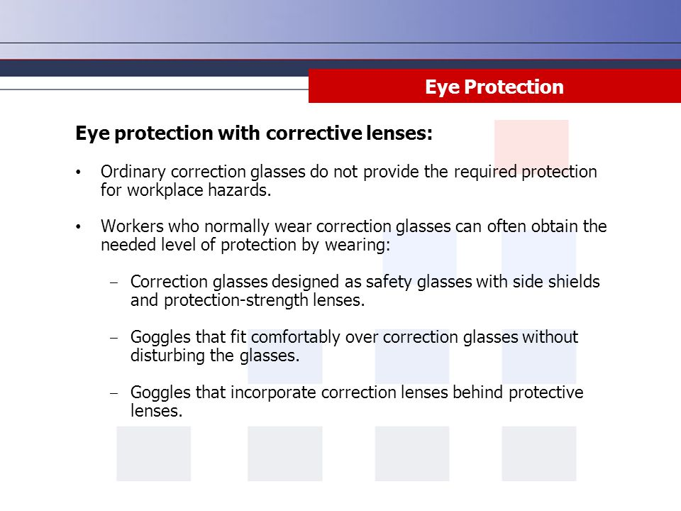 Eye protection with corrective lenses: