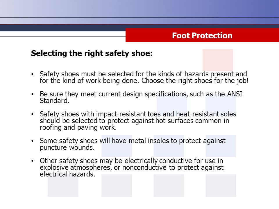 Selecting the right safety shoe: