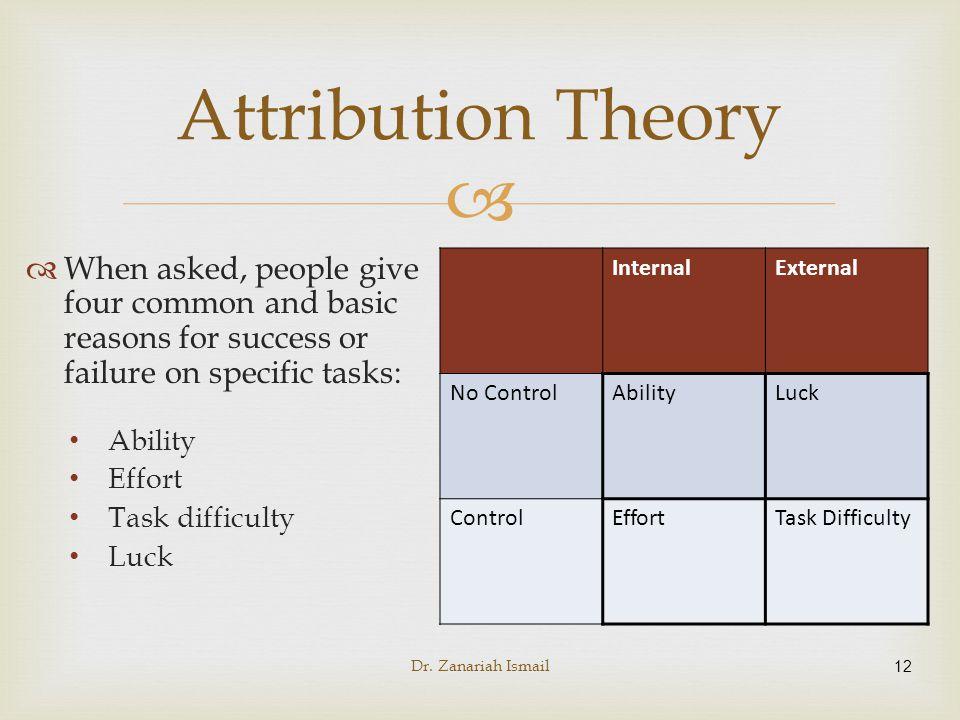 attribution theory  u0026 self-worth theory
