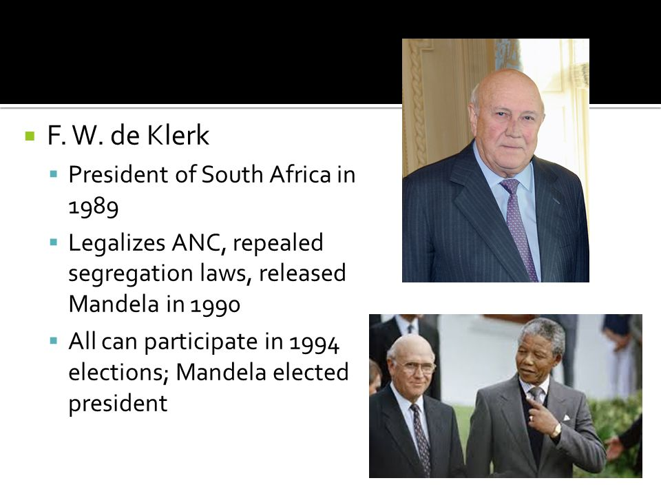 F. W. de Klerk President of South Africa in 1989