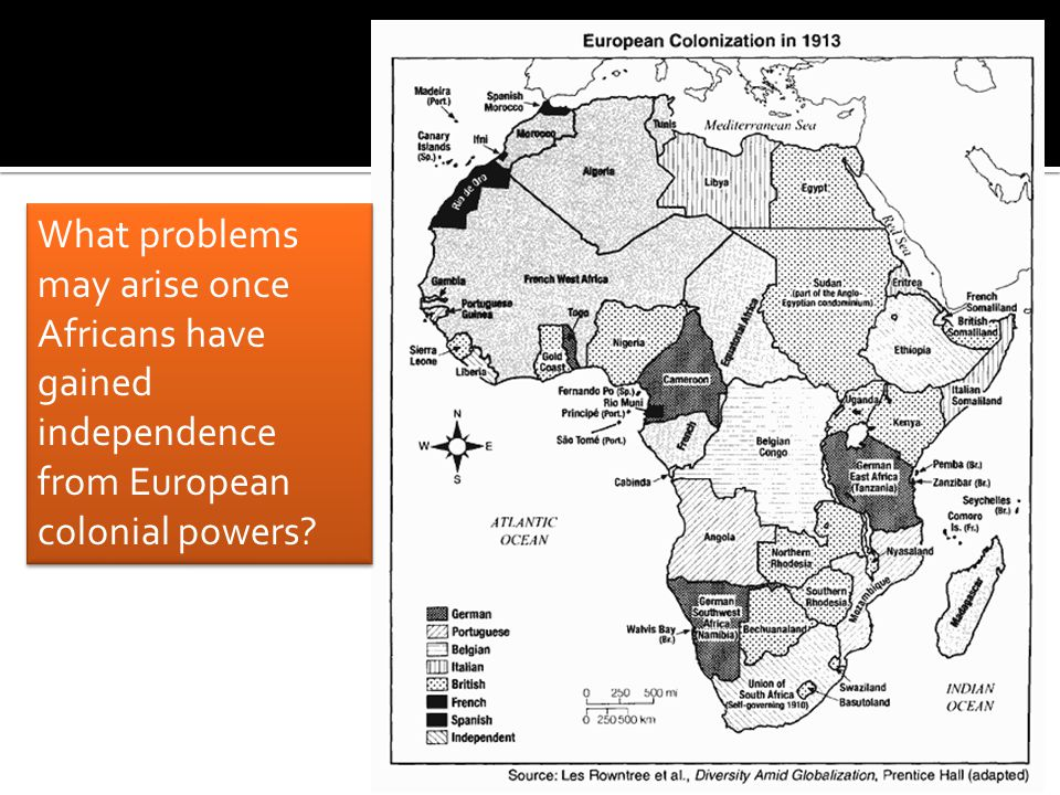 What problems may arise once Africans have gained independence from European colonial powers