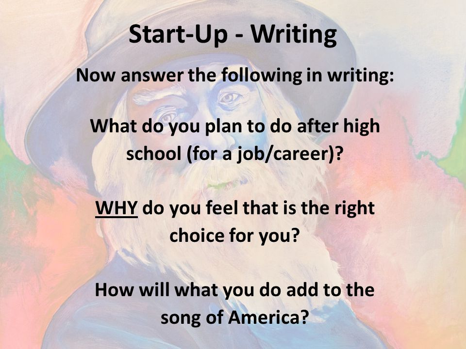 Start-Up - Writing Now answer the following in writing: