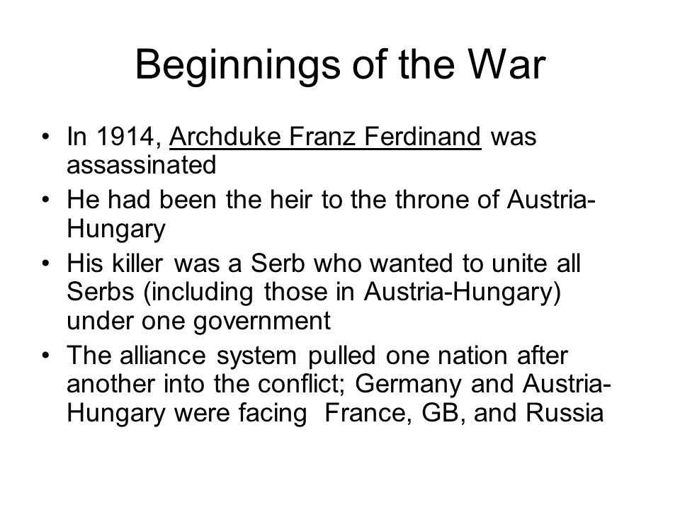 Beginnings of the War In 1914, Archduke Franz Ferdinand was assassinated. He had been the heir to the throne of Austria-Hungary.