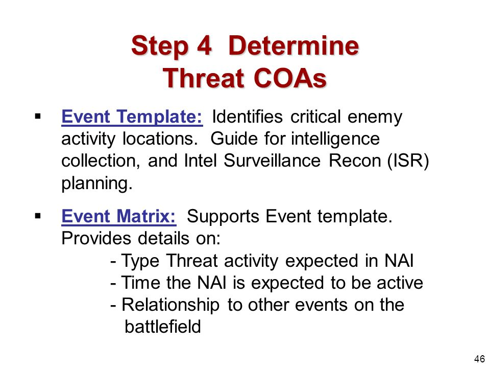 46 step 4 determine threat coas event template