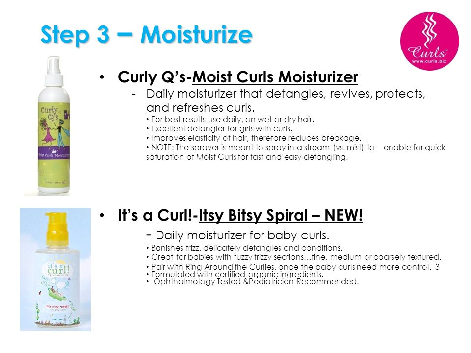 Step 3 – Moisturize Curly Q's-Moist Curls Moisturizer