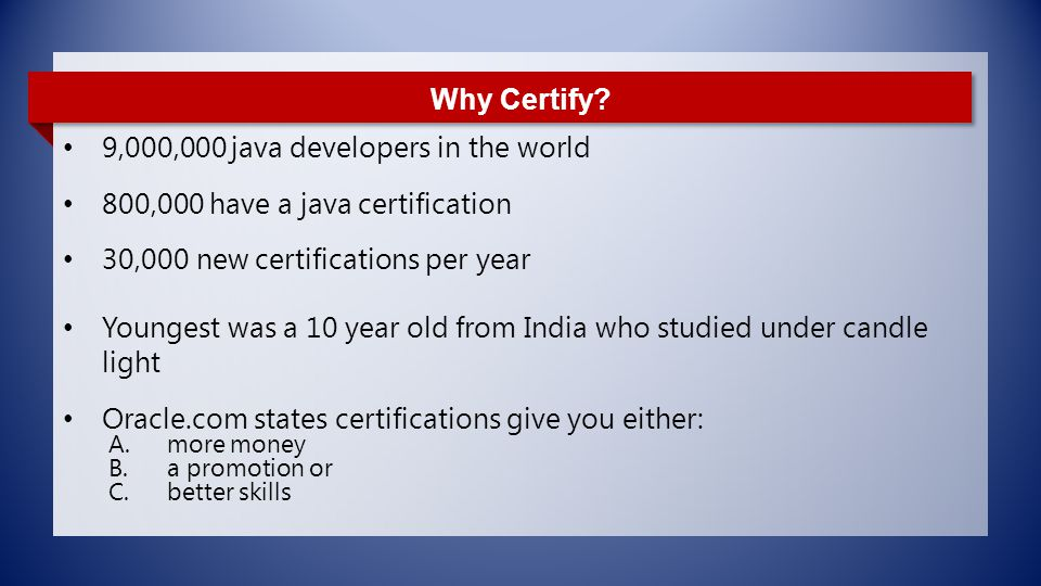 Oracle Java Certifications - ppt download