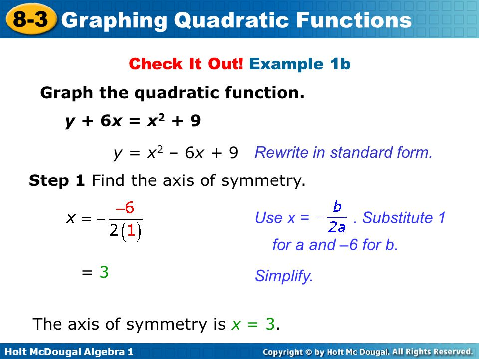 Check It Out! Example 1b Graph the quadratic function. y + 6x = x y = x2 – 6x + 9. Rewrite in standard form.