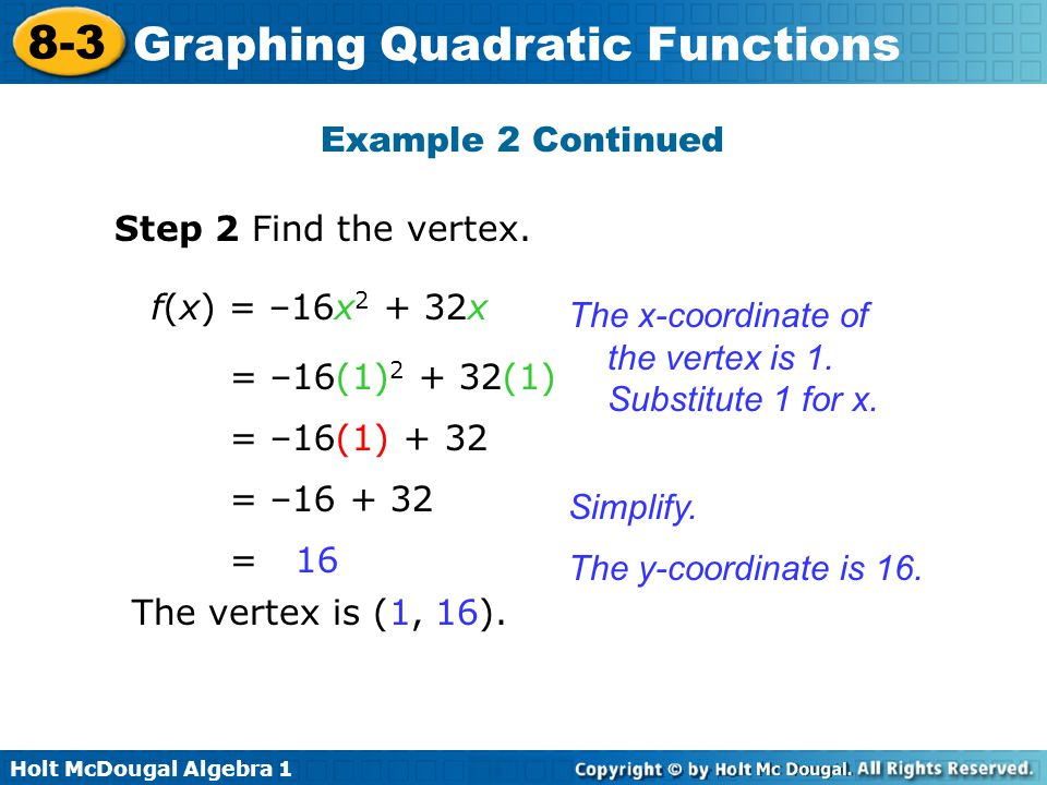 Example 2 Continued Step 2 Find the vertex. f(x) = –16x2 + 32x. The x-coordinate of the vertex is 1. Substitute 1 for x.