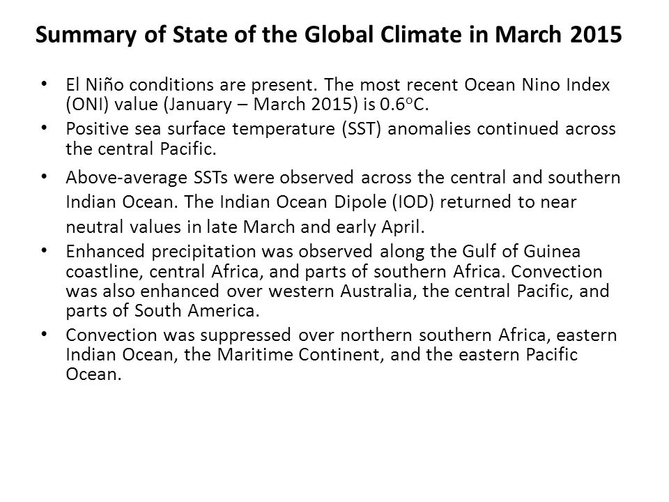 Summary of State of the Global Climate in March 2015