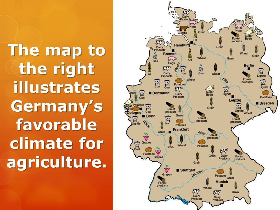 The map to the right illustrates Germany's favorable climate for agriculture.