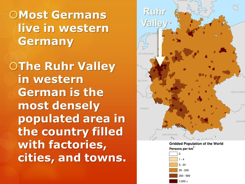 Most Germans live in western Germany