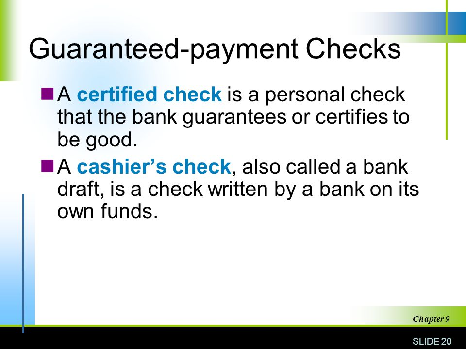 Guaranteed-payment Checks