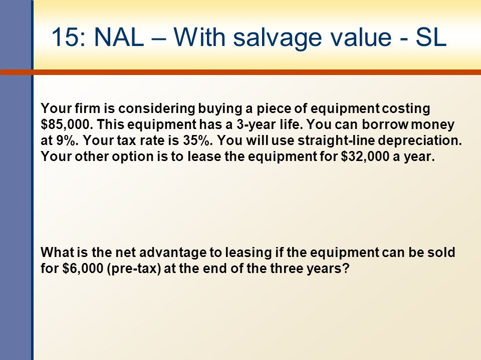 15: NAL – With salvage value - SL