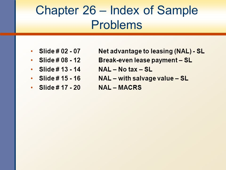 Chapter 26 – Index of Sample Problems