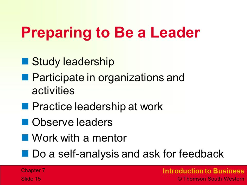 Preparing to Be a Leader
