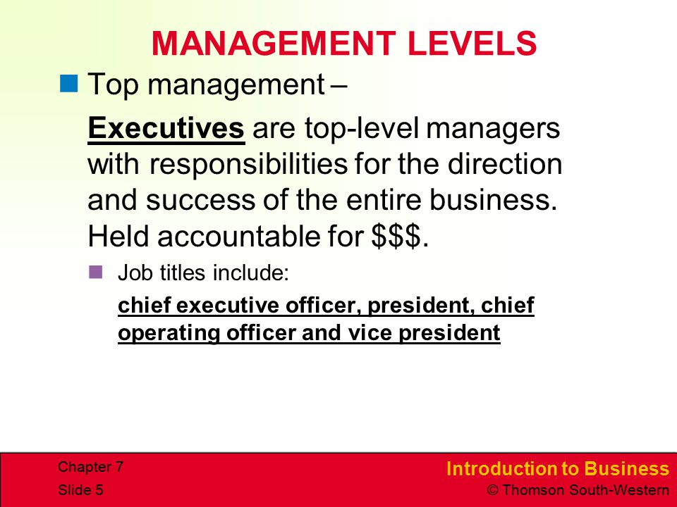 MANAGEMENT LEVELS Top management –