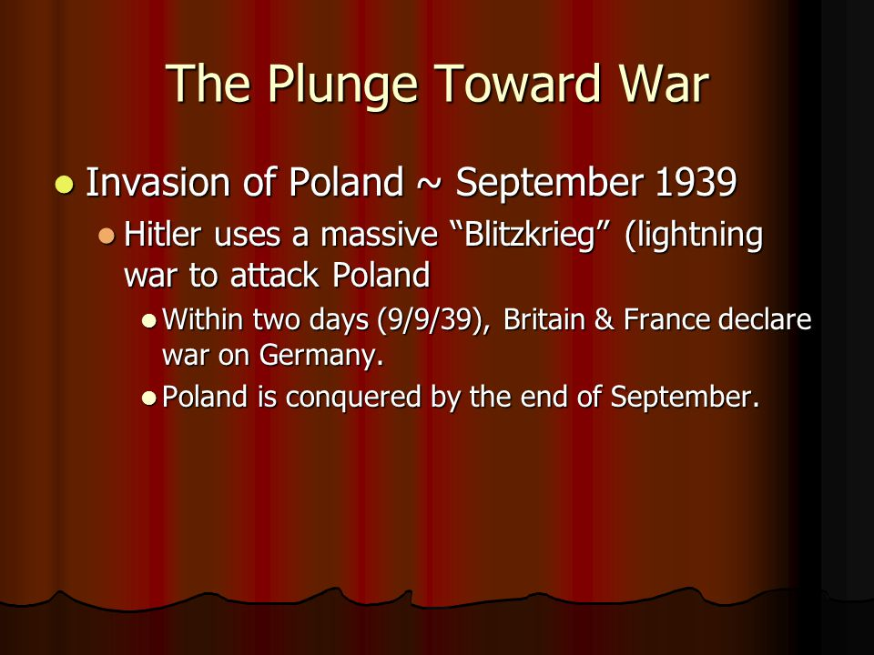 The Plunge Toward War Invasion of Poland ~ September 1939