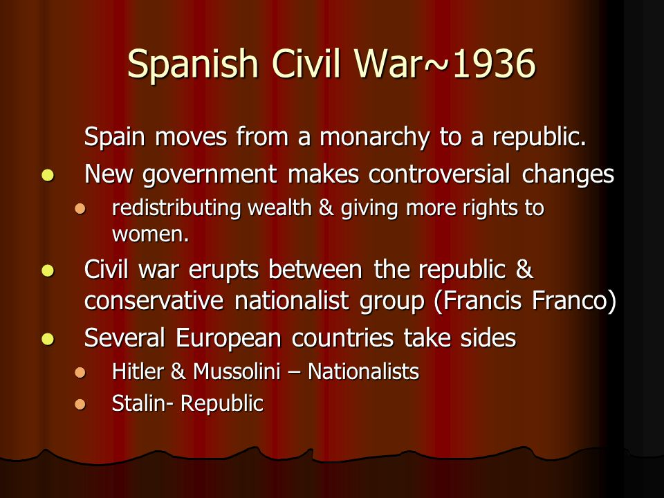 Spanish Civil War~1936 Spain moves from a monarchy to a republic.