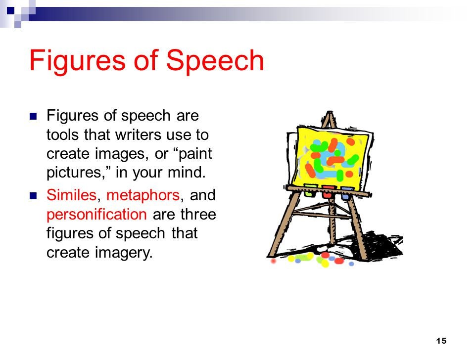 Figures of Speech Figures of speech are tools that writers use to create images, or paint pictures, in your mind.