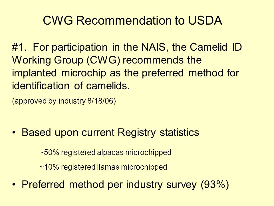 CWG Recommendation to USDA