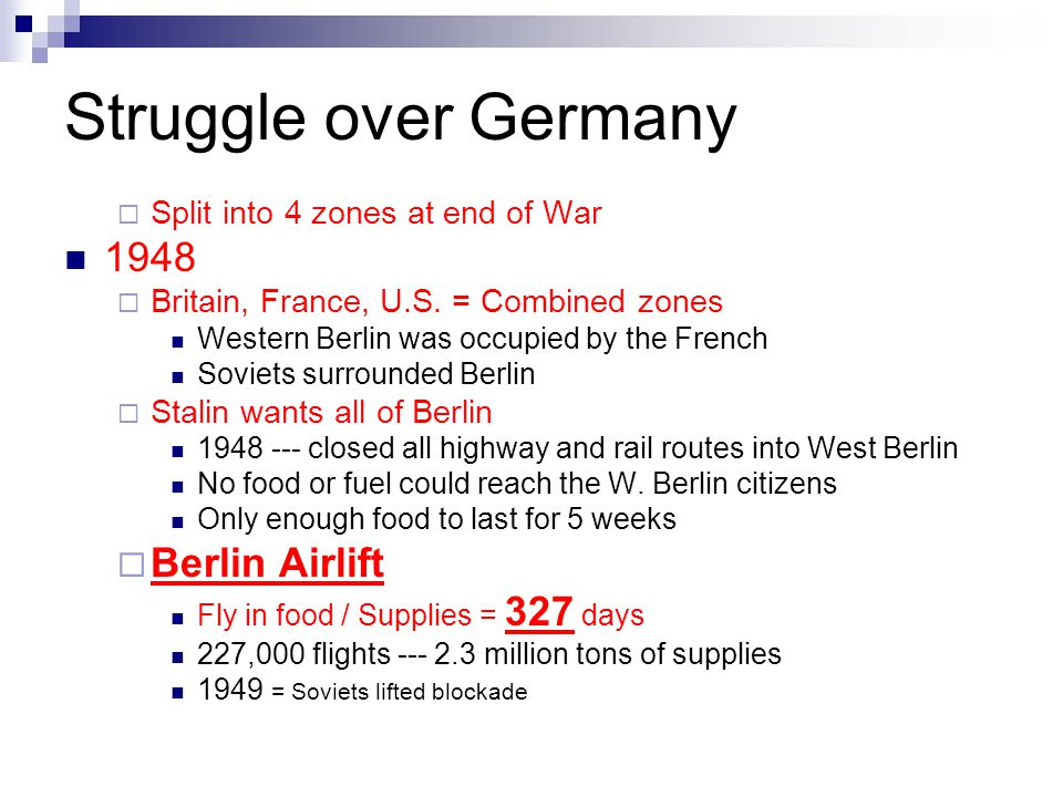 Struggle over Germany 1948 Berlin Airlift