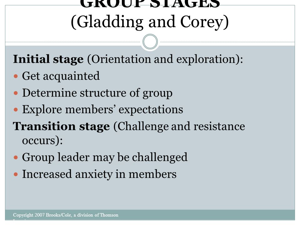 stages of group therapy corey