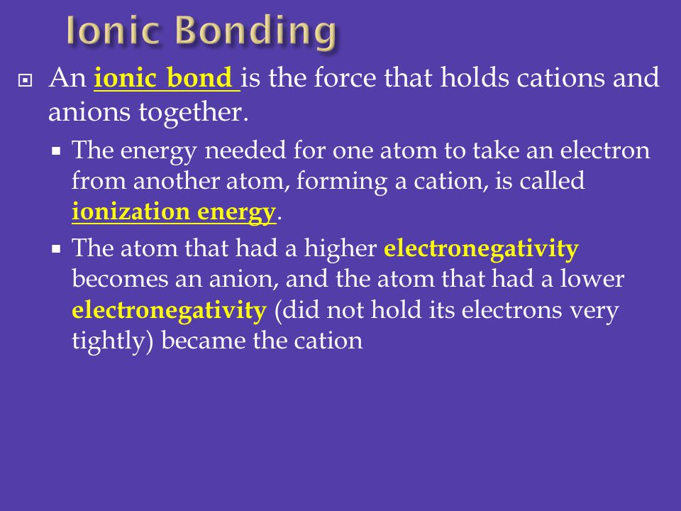 Ionic Bonding An ionic bond is the force that holds cations and anions together.