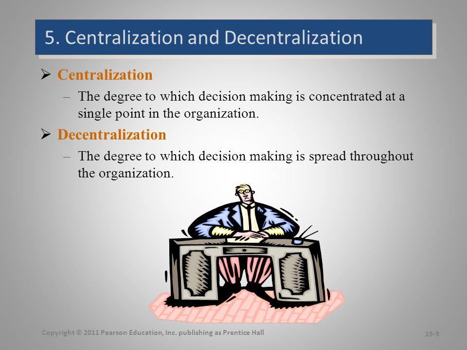 6. Formalization The degree to which jobs within the organization are standardized. High formalization.