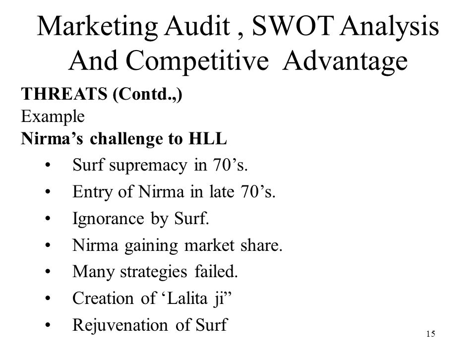 marketing audit swot analysis and competitive advantage