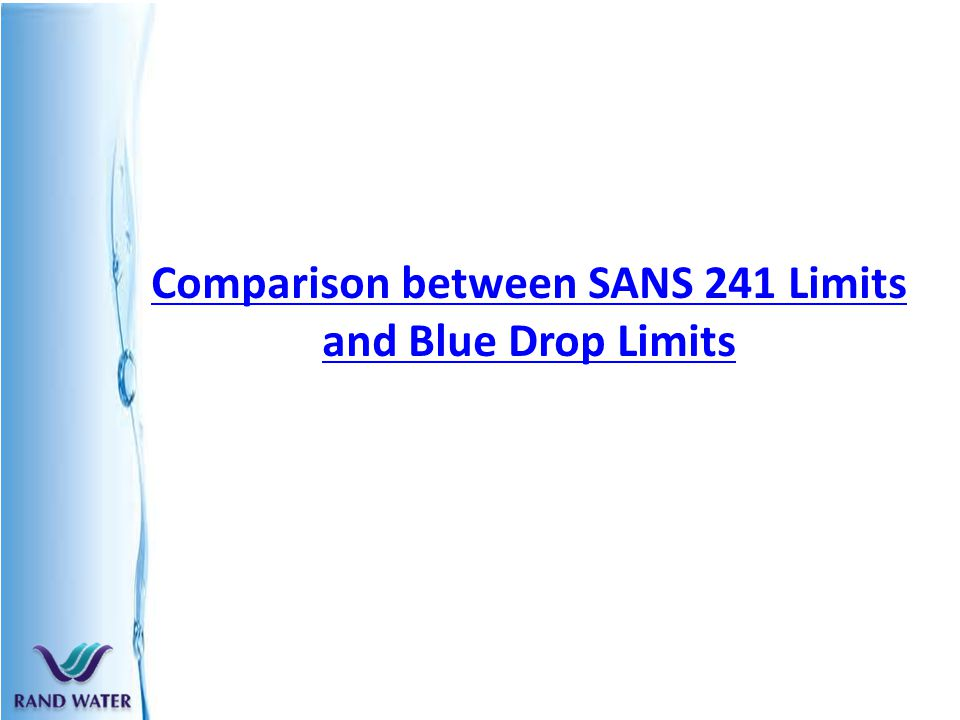 Chemical profile of ro cleaned water and dws/sans 241 water.