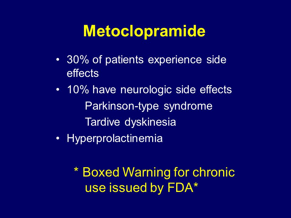 Metoclopramide * Boxed Warning for chronic use issued by FDA*