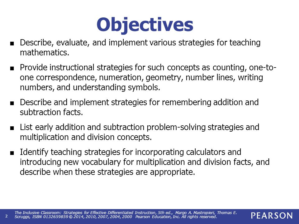 Mathematics Chapter 15 The Inclusive Classroom Strategies For