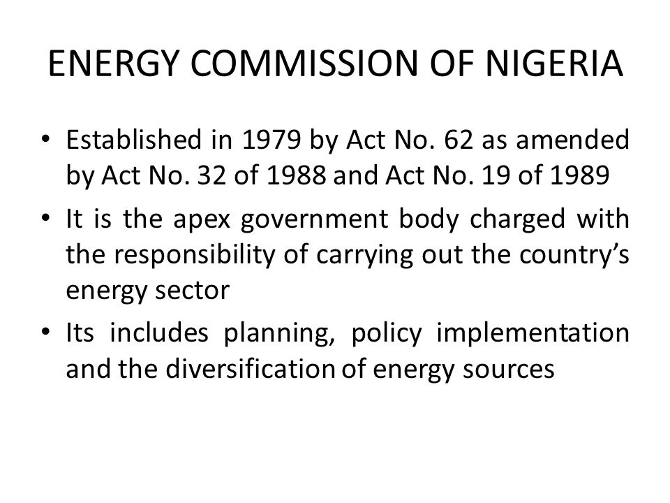 ENERGY COMMISSION OF NIGERIA