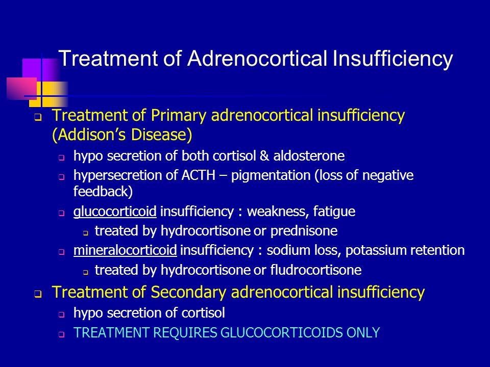 Treatment of Adrenocortical Insufficiency