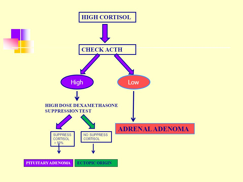 ADRENAL ADENOMA HIGH CORTISOL CHECK ACTH High Low