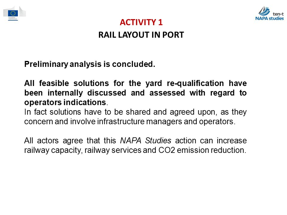 ACTIVITY 1 RAIL LAYOUT IN PORT Preliminary analysis is concluded.
