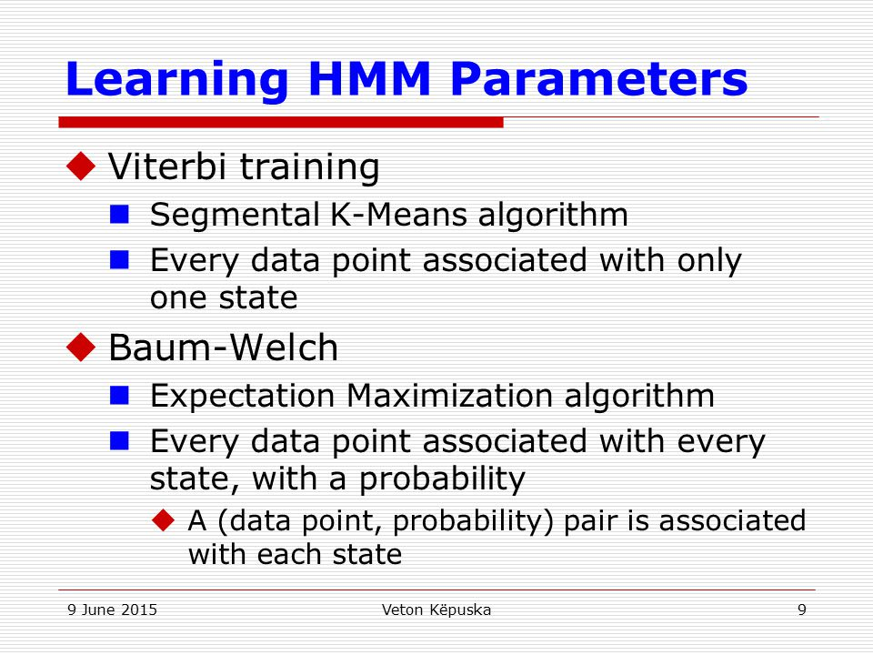 Learning HMM Parameters