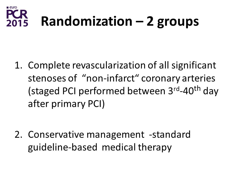 Randomization – 2 groups